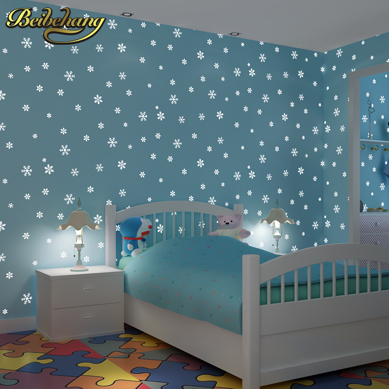 beibehang papel de parede 3D Children's room luminous moon snowflakes wallpaper for walls 3 d wall papers home decor background beibehang papel de parede 3d mediterranean pinstripe wallpaper for walls 3 d painting wall papers roll home decor living room