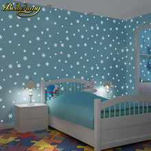 купить beibehang papel de parede 3D Children's room luminous moon snowflakes wallpaper for walls 3 d wall papers home decor background по цене 2215.76 рублей