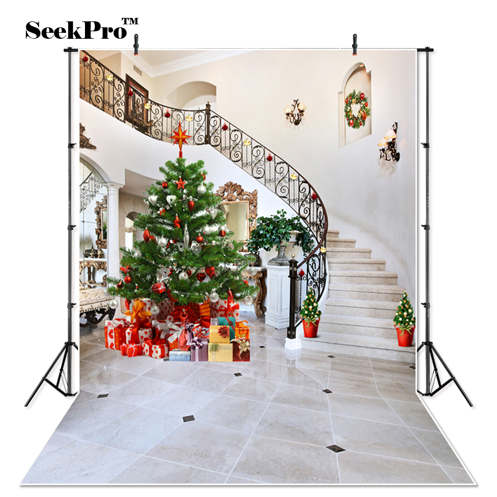 Thin Vinyl Christmas Tree Stair Rails graphy Background