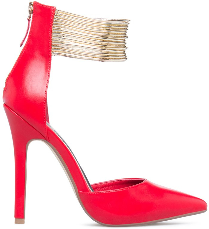 ФОТО Hot Fashion Woman Sexy Pumps Red High Heels Ankle Strap Sexy Pointed Toe Thin Heel For Female Dress Shoes OL Office Outfit Pumps