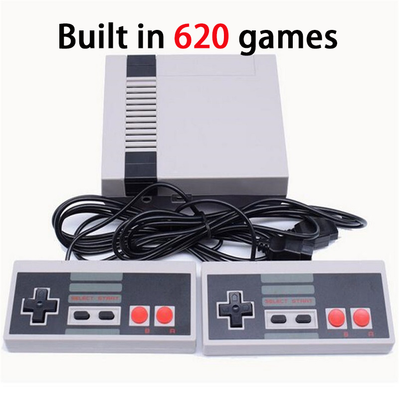 Mini Retro Classic Video Game Console Embutido 620 Jogos PAL & NTSC TV Família jogador handheld do jogo de 8 Bits Duplo Gamepads