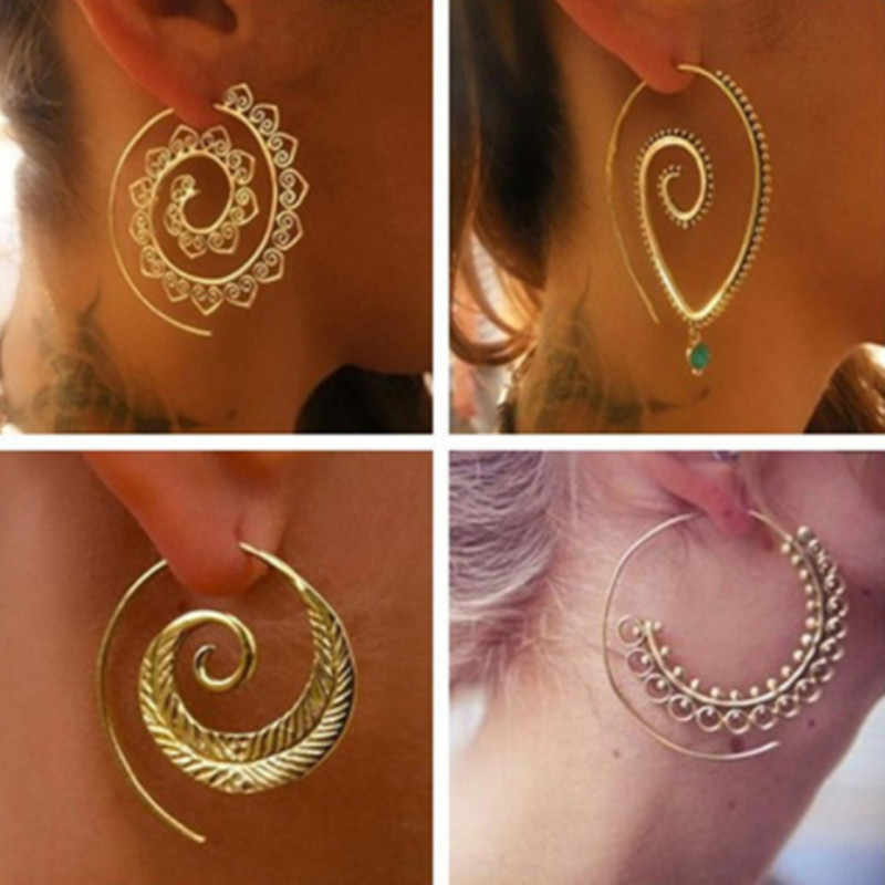Punk Hollow Out Spiral Drop Earrings Women Gold Color Circle Leaves Piercing Dangle Earring Trendy Jewelry Wholesale e076
