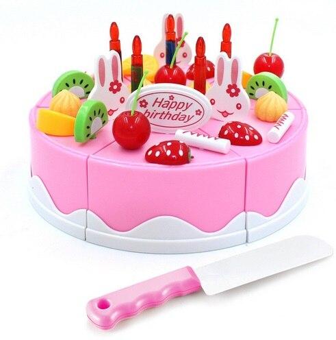 Sûr ABS 38 pcs/ensemble De Cuisine En Plastique Alimentaire Fruits gâteau d'anniversaire de coupe Enfants Prétendent Jouer Éducatifs fille DIY De Juguete garçon cadeau