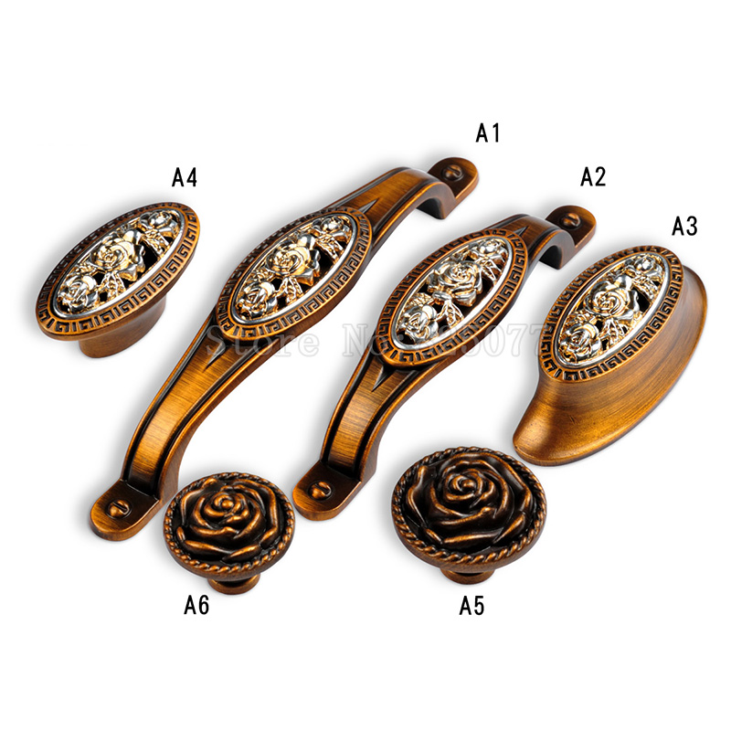 8PCS Vintage Carved Cabinet Wardrobe Knobs Drawer Furniture Cupboard Kitchen Cabinet Door Pulls Handles and Knobs JF1415 furniture handles wardrobe door pulls dresser drawer handles kitchen cupboard handle cabinet knobs and handles 64mm 96mm 128mm