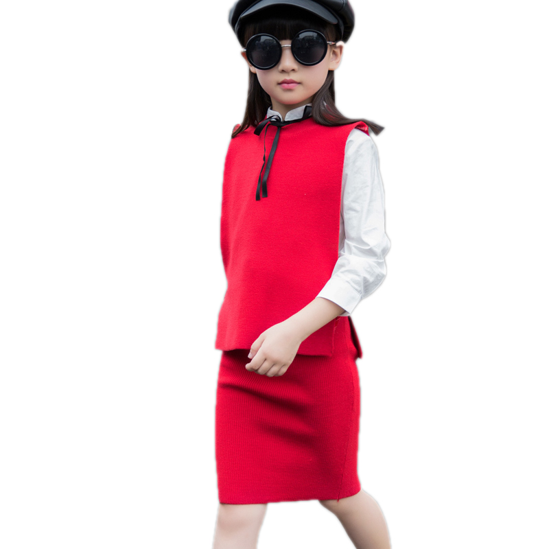 children clothing 2017 new fashion autumn winter toddler girl clothes top knitted sweater vest+white blouse+kniited dress 3pcs
