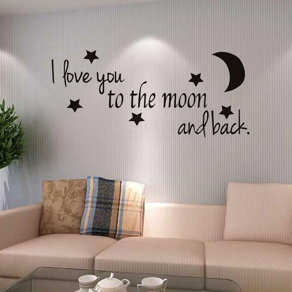 I Love You To The Moon And Back Love Quotes DIY Wall Sticker For Living Room Decoration Wallpaper Wall Art Decals Home Decor