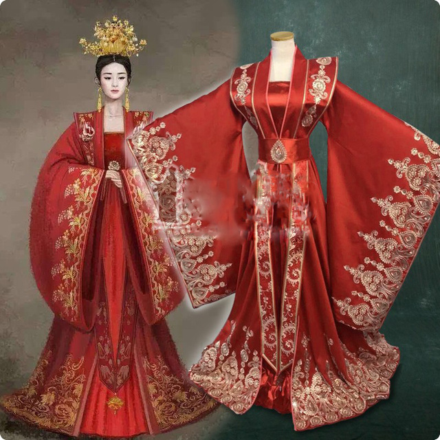 89629be85 Ming Dynasty Gorgeous Red Bride Wedding Costume Hanfu for Newest TV Play  Legend of Ming Lan