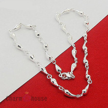 Femme Collier Silver Full Water Drop Chain Necklaces 18 inch Choker 925 Jewelry Bijoux Wholesale Gifts for Friend Shipping