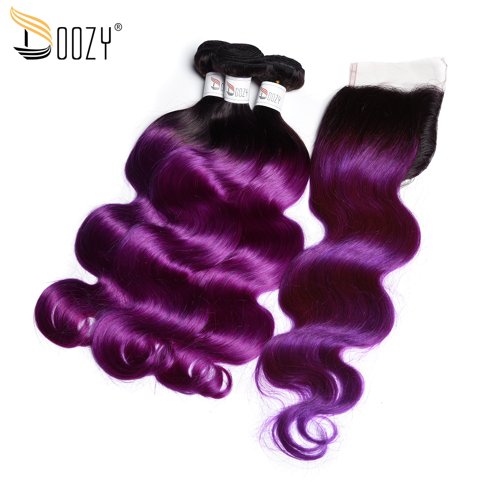 Doozy Body Wave Brazilian Hair Ombre 1B/Purple Remy Human Hair Weave 3 Bundles With Lace Closure
