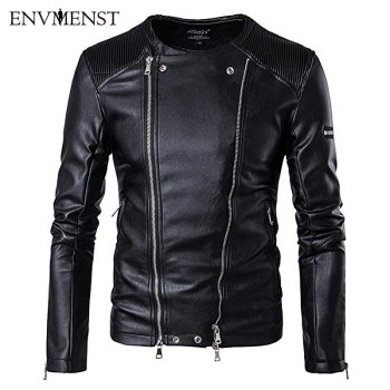 Envmenst 2017 Men Stand Collar Double Zip Placket Jacket New Leather Jackets Multi-pocket Motorcycle Leather Jacket