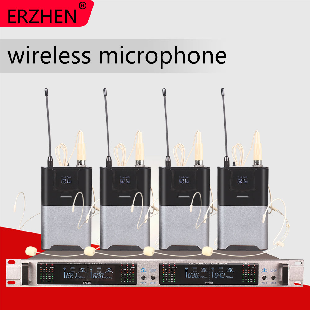 Wireless microphone system 405GT professional microphone 4 channel UHF dynamic professional 4 headset microphone in Microphones from Consumer Electronics