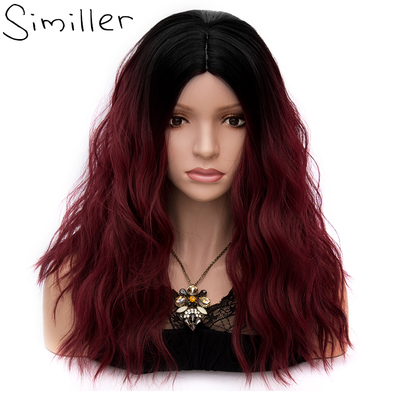 Similler 25 Colors Synthetic Ombre Black Burgundy Blue Green Wigs Short Hair for Women Water Wave False Hair 18 Cosplay Wig