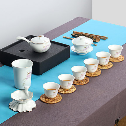 Simple ceramic Kung Fu tea set full set of gift packagingSimple ceramic Kung Fu tea set full set of gift packaging