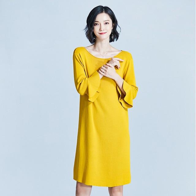 Для женщин длинный вязаный Платья-свитеры Повседневное бабочка три рукава женские свободные Модные пуловеры простой 2018 Новое осеннее платье