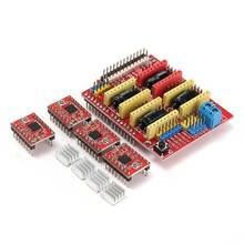 ЧПУ Щит Доска + для UNO R3 Доска + 4 Шт. A4988 Драйвер Шагового Двигателя Для Arduino Гравер Интегральные Схемы