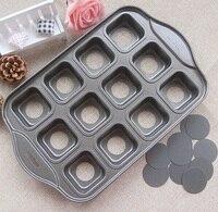 12 Tazas Antiadherente Deluxe Mini Pan de Queso Forma Cuadrada Pan Muffin Pan Molde de La Torta Inferior Caída De Acero Al Carbono