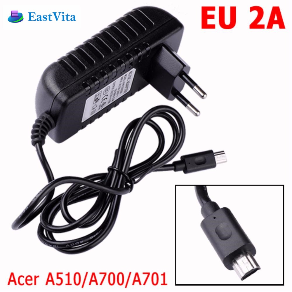 EastVita High Quality Wall Charger Travel For Acer Iconia Tab A510 A700 A701 Charger Power Adapter AC DC Charger 12V 2A EU AR30