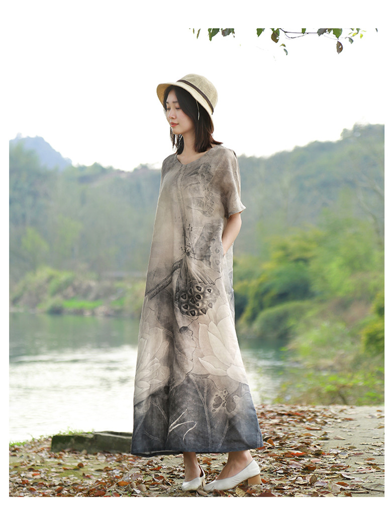 LZJN 2019 New Summer Women Retro Black Grey Lotus Print Short Sleeve Cotton Linen Dress Loose Casual Ankle Length Dress Vestidos (14)