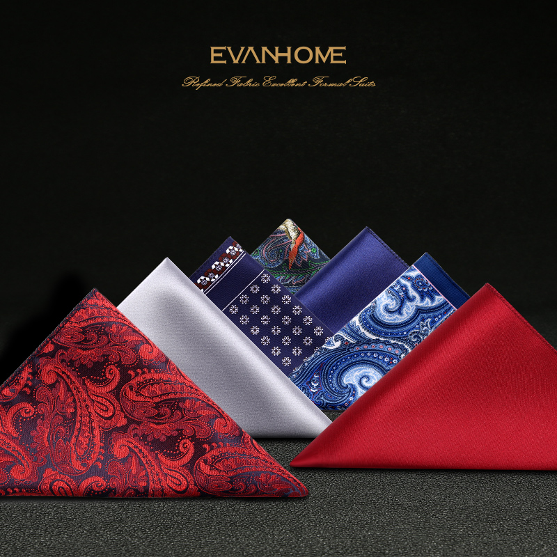 New Fashion Pocket Square Handkerchief Floral Paisley Print Soild Color Jacquard Woven Wedding Party Handkerchief With Gift Box