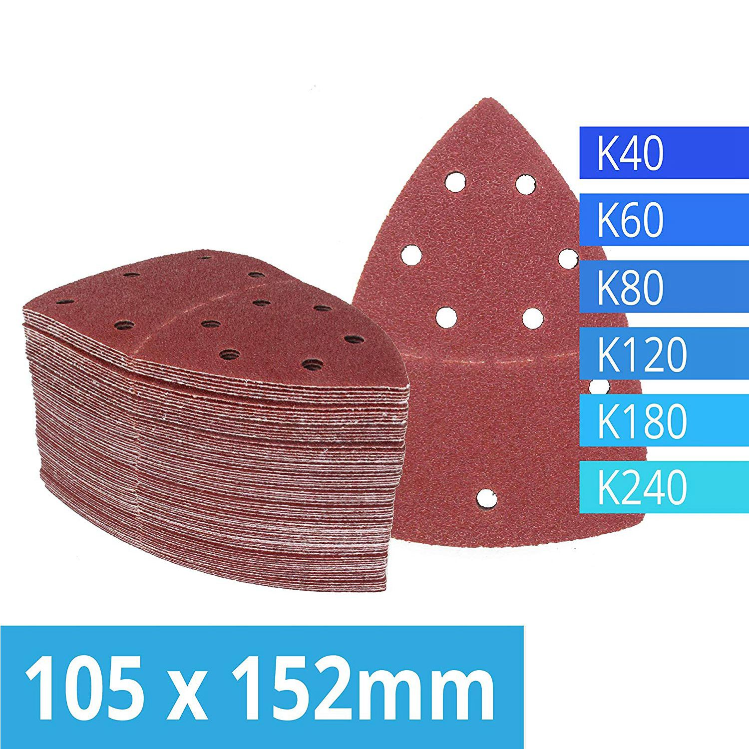 Pack Of 120 Hook And Loop Sanding Sheets 105 X 152 Mm Grit 20 Each Of 40/60/80/120/180/240 Sandpaper For Multi Sander Bosch