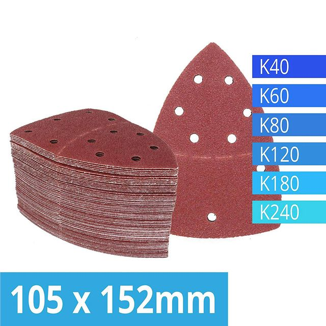 Pack of 120 Hook and Loop Sanding Sheets 105 x 152 mm Grit 20 Each of 40/60/80/120/180/240 Sandpaper for Multi Sander Bosch