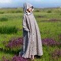 MM040 Осень Зима 2016 vintage негабаритных свободные длинным рукавом макси хлопок и лен лайнер с капюшоном выдалбливают шерсть платье халат женщины