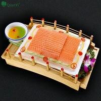 Madera Puente de Comida Japonesa Sashimi Sushi Plato de Postre intage Platos Restaurante Cuadrada marco De La Placa Placa de Bandeja de Utensilios de Cocina