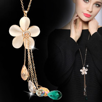 DARA High Quality Flower Pendant Necklace Women Gold Color Long Link Chain Crystal Necklace Fashion Jewelry