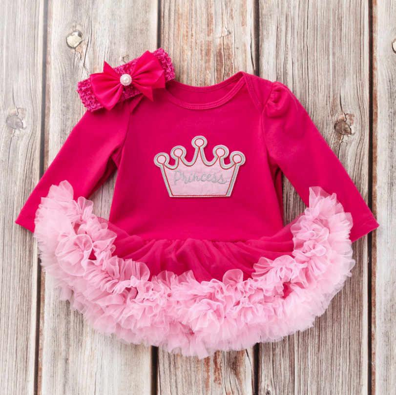 Лидер продаж, 1 день рождения, набор одежды для принцессы, комбинезон с юбкой-пачкой и бант, повязка на голову для ребенка, комплект одежды для девочек, милые детские наряды, подарки