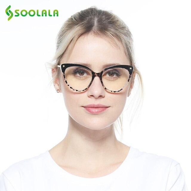 SOOLALA TR90 Cat Eye Reading Glasses With Anti Blue Light Women Men Semi-Rimless Presbyopic Reading Glasses Protection Computer