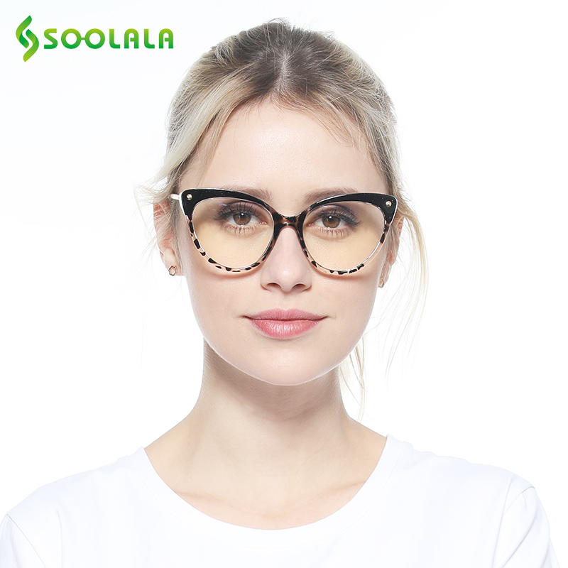 SOOLALA TR90 Cat Eye Reading Glasses With Anti Blue Light Women Semi-Rimless Presbyopic Reading Glasses Protection Computer
