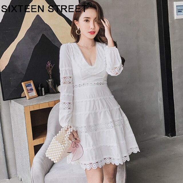 9379a9052 V cuello de manga larga blanco mujer vestido de gama alta elegante Calle  Partido Blanco mini