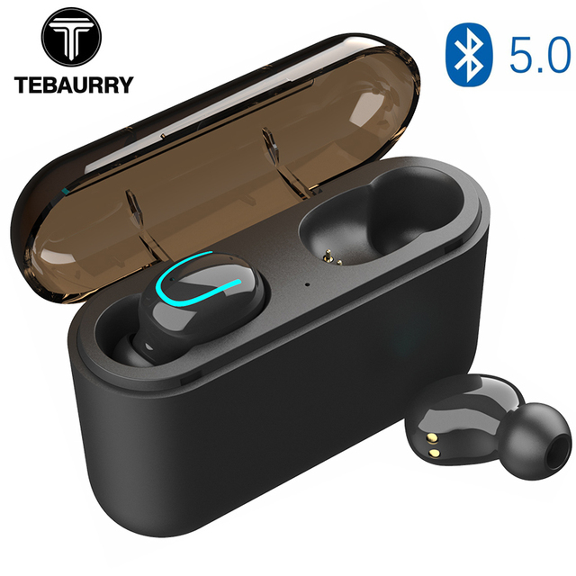 TEBAURRY True Wireless Buetooth Earphone 5.0 TWS Mini Wireless Earbuds Stereo  Headset with Charging box power bank for phone