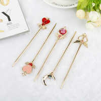 Cute Sailor Moon Hair Clasp Hairpin Moon Heart Hair clip Kanzashi Geisha Costume Accessories kimono magic wand Girl Hair Dress