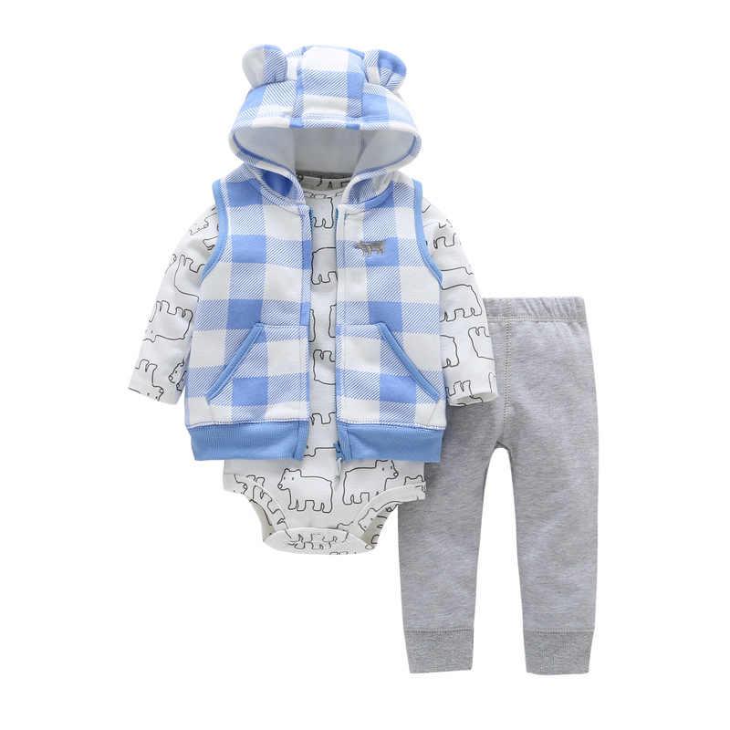 2018 Baby Jongens Meisjes uitloper jassen 3pcs sets Vest + Lange mouwen boxpakje + sport broek drop shipping 6-24m