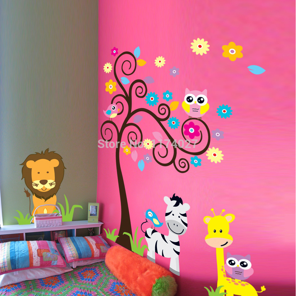 owl tree zebra lion friends wall stickers home decor Art decals for Kids Room Decoration Removable Free shipping
