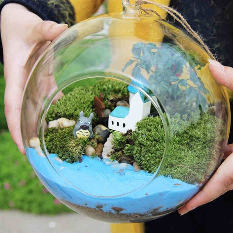 Newly  Creative Hanging Glass Ball Vase Flower Plant Pot Terrarium Container Home Office Decor Hanging Glass Vase HUG-Deals