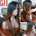 7A Virgin Brazilian Human Hair Silk Top Full Lace Wig Ombre/Glueless Silk Base Front Lace Wig Ombre Two Tone Straight