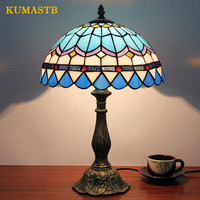 Европейский Стиль исследование настольная лампа Спальня Романтический ручной окрашенных Стекло синий тумбочка лампа