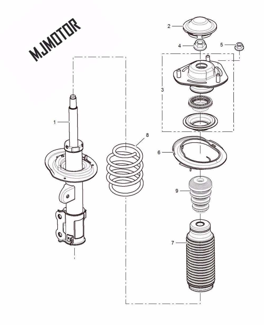 Shock absorber Front assy with dust cover and spring for SAIC ROEWE 350 MG3 MG5 Autocar