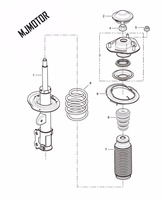 Shock absorber Front assy. with dust cover and spring for SAIC ROEWE 350 MG3 MG5 Autocar motor part 50016035 / 50016055
