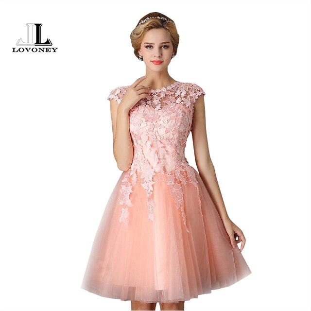 Lovoney t402 corta Vestidos de baile 2017 elegante a line vestido de ...