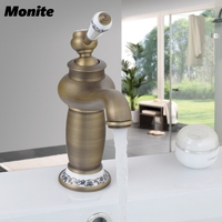 RU Free Shipping Crane Hot Sale Bathroom Basin Faucet Antique Bronze Brass Tap Mixer With Ceramic