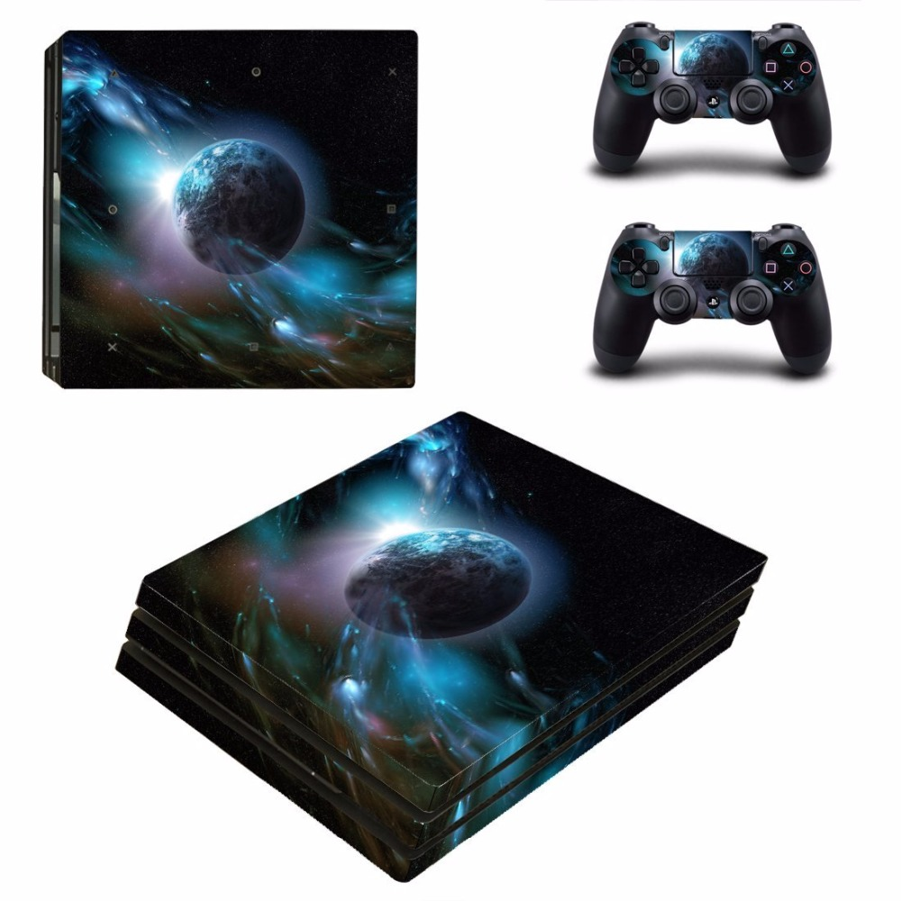 Planet Design Removable PS4 Pro Skins Sticker Vinly Decal Cover for Sony PS4 PlayStation 4 Pro Console and Controller Waterproof