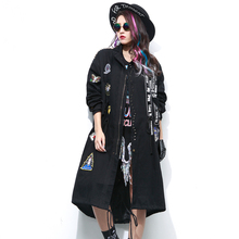 2016 Embroidery Applique Women Long Jacket Coat Plus Size Bomber Jacket Women Rivets Oversize Women Long Coat Cotton Coat