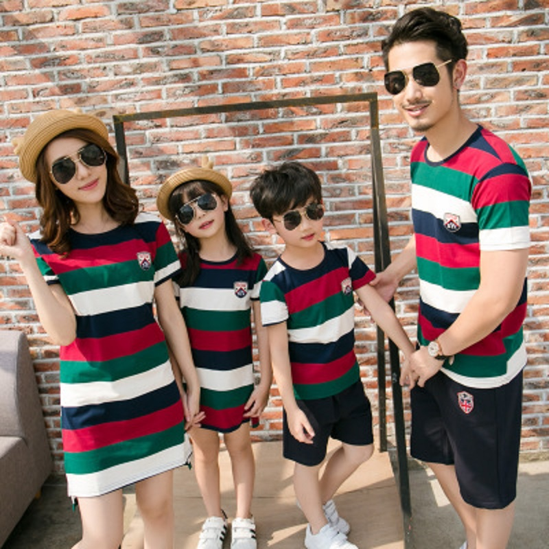 Summer season Household Matching Outfits Stripe Tshirt and Mom Daughter Costume Units Vogue Colourful Informal Youngsters Garments Matching Household Outfits, Low cost Matching Household Outfits, Summer season Household Matching...