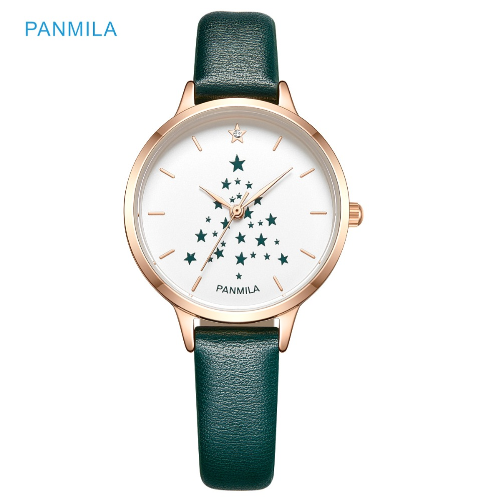 Panmila Women Star Christmas Tree Dial Watches Ladies Green Leather Quartz Waterproof Wrist Watch Clock Gift relogio feminino kevin vintage paris eiffel tower dial wrist watch women ladies girl quartz watches gift for girlfriend black strap clock hot