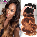 8A Peruvian Ombre Weave Dark Roots Blonde Hair T1B/27,30 Peruvian Ombre Hair Body Wave Honey Blonde Ombre Two Tone Hair Weaving