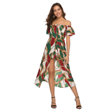Dress summer 2019 Europe and the United States new womens holiday wind wrapped chest trumpet sleeves safe lined beach dress