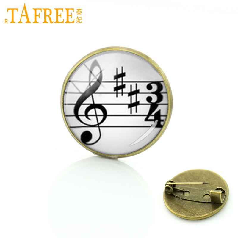TAFREE Retro ethnic style music note sheet brooches wear pins Interesting musician's high note brooch gift wedding jewelry T743